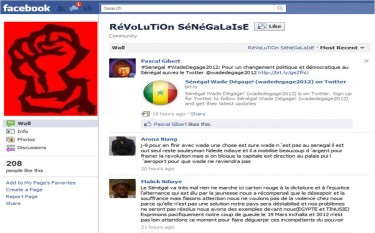 "Screenshot of the Facebook page ""Senegalese Revolution""."
