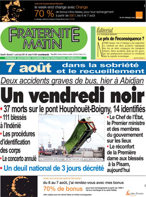 Newspaper in mourning - the frontpage of the Ivorian daily, Fraternité Matin