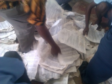 Elacam (Cameroon's election body) distribute voter cards. Image from @billzimmerman via Twitter.