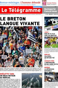 "The front page of the  Télégramme newspaper : ""Le Breton, a living language "". Photo : @letelegramme on  Twitter"