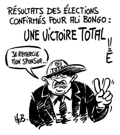 Election results confirmed by Ali Bongo: a TOTAL victory! I would like to thank my sponsor... A caricature of Bongo by Hub via Agora Vox, used with permission