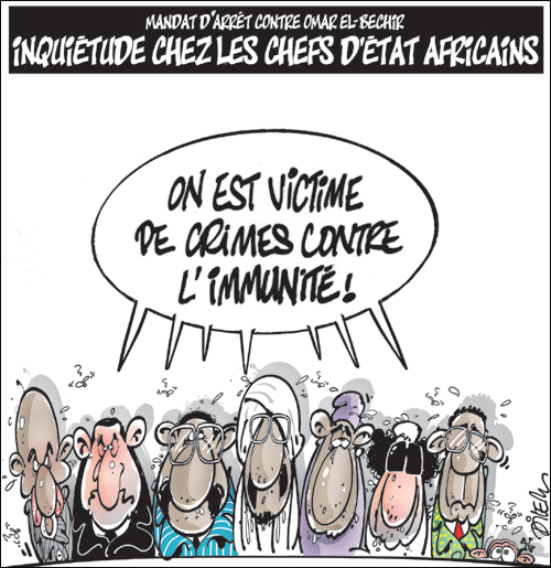 Arrest warrant for Omar El-Bechir. Disquiet among African heads of state. We are victims of crimes against immunity! A caricature of the African heads of state by Dilem via Zoom Algérie (used with permission)