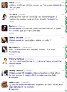 De hashtag #radiolondres op Twitter