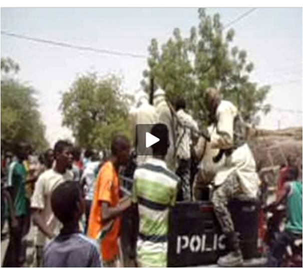 "Screen capture of the ""Nous pas Bouger"" (We won't move) youth protest in Gao by Hamma Biamoye of the Observers."