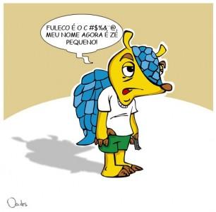"""Sondaggio su Internet, con riferimento al film City of God:"""" Fuleco, ma anche no! Il mio nome è piccolo Zé!"""". Fonte: caricatura di Odes su Belo Horizonte"""