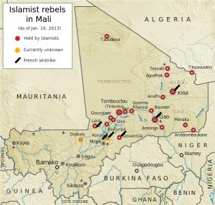 Carte de la rébellion touareg au Azawad, au nord de Mali indiquant les attaques des rebelles au 5 avril 2012