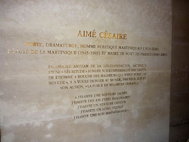 Inscription d'Aimé Césaire, Panthéon, Paris, France