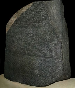 The Rosetta Stone in the British Museum, discovered accidentally by a French soldier during the Napoleonic Campaign in Egypt - Wikipédia CC-BY-NC