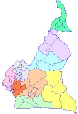 Les départements au Cameroun par région - Domaine public