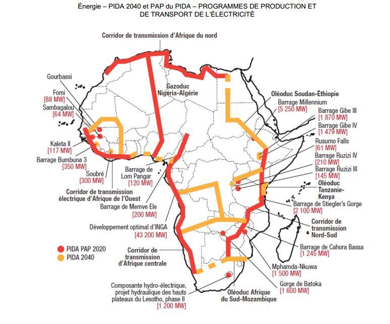 Programmes de production et de transport d'électricité en Afrique en 2040 développé par le PIDA avec autorisation
