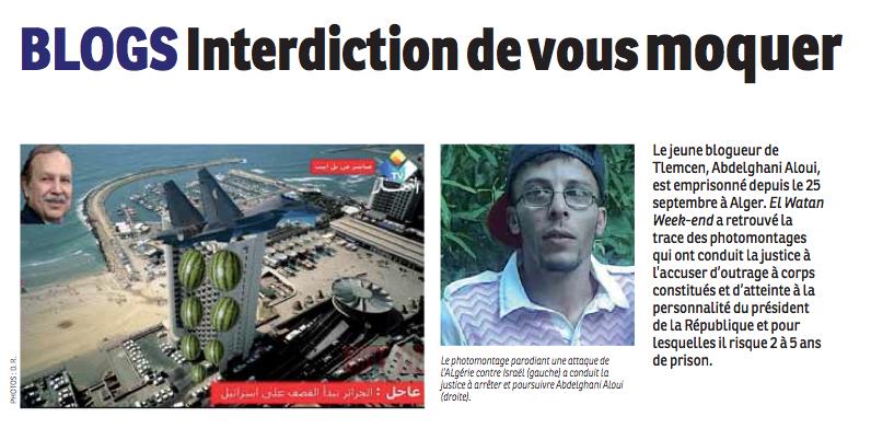 Capture d'écran de la couverture d' El Watan Week end publié sur le blog Chouf El Djazair - Domaine public