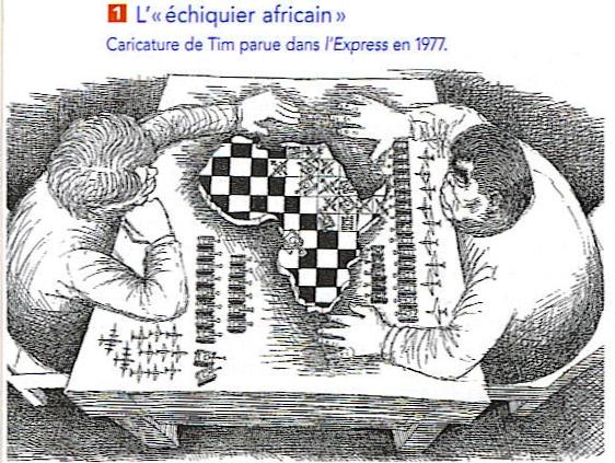 Γελοιογραφία του Ψυχρού Πολέμου στην Αφρική από τον Tim στην Γαλλική εφημερίδα L'Express. Δημοσιευμένο το 1977. Public Domain