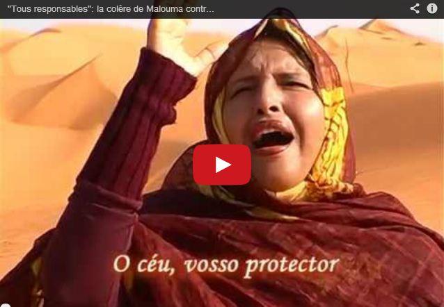 """Capture d'écran du vidéo clip de la chanson de Malouma """"Tous responsables"""""""
