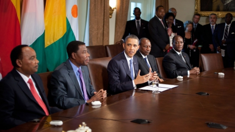 President Barack Obama with 40 African presidents in  Washington DC  - via carrapide - Public Domain