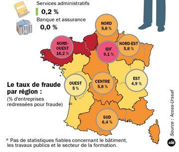 Travail au noir en France par région via L'Acoss - Domaine public