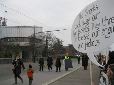 Dans le fond, la Cour Européenne des Droits de l'Homme (photo Suzanne Lehn)