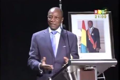 Capture d'écran d'Alpha Condé pendant son discours aux Etats-Unis