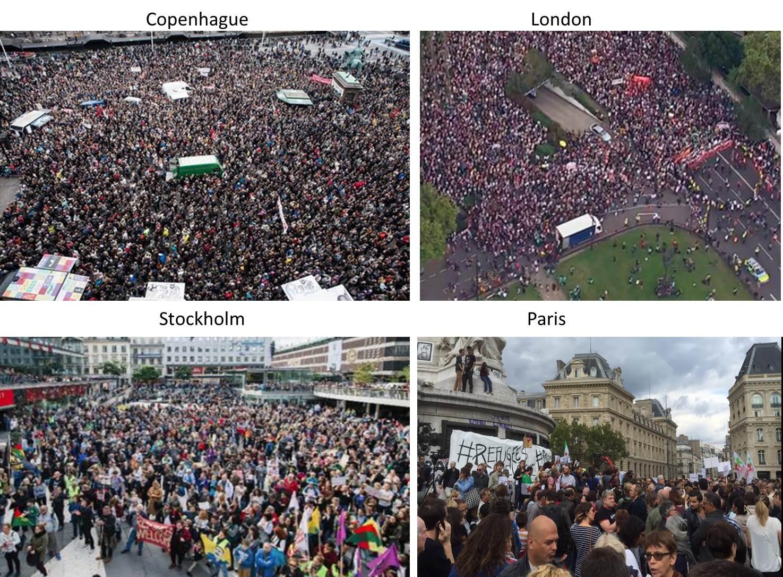 Les manifestations dans les grandes villes européennes en faveur des réfugiés (sources diverses)