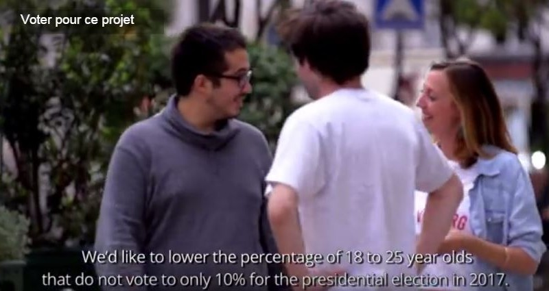 """""""Nous aimerions que le pourcentage d'abstention  chez les 18 à 25 ans baissent à 10 % en 2017"""" Via Projet Voxe.org"""