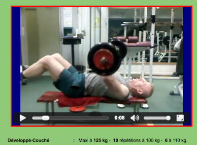 SDF75 dans la salle de musculation - capture d'ecran d'une video de son blog