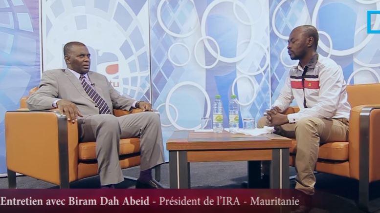 Capture d'écran d'un entretien avec Biram Dah Abeid Président de l'Ira- Mauritanie sur Dakar actualités