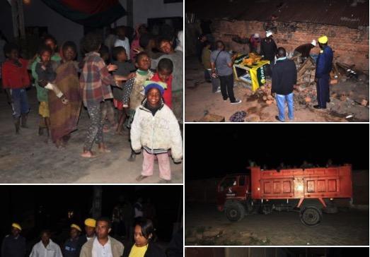 Emsemble de photos montrant l'evacuation des sans abris a Antananarivo, madagascar