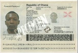 Biographical data page from the Ghanaian biometric passport. via wikipedia