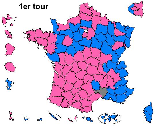 Carte indiquant le candidat arrivé en tête au 1er tour de l'élection présidentielle française de 2012, dans les territoires suivants : départements de métropole, départements et territoires d'outre-mer, et étranger (Français établis hors de France).  François Hollande --> rose Marine Le Pen --> gris Nicolas Sarkozy --> bleu via BigonL sur wkipedia CC-BY-30