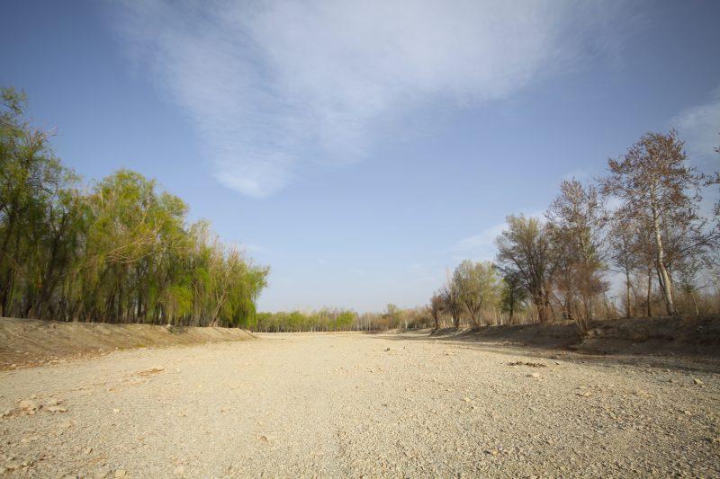 En plein cœur du lit de la mythique Zayandeh rud, la rivière qui a donné naissance à l'ancienne cité d'Ispahan. (Yann Leymarie)